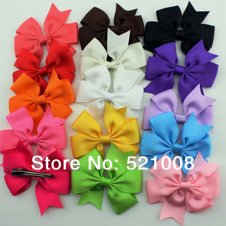 Satin Ribbon Bows Hair Clip Girls Solida color bow Kids Pin Accessories 4Free - Babyhood One-Stop Boutique store