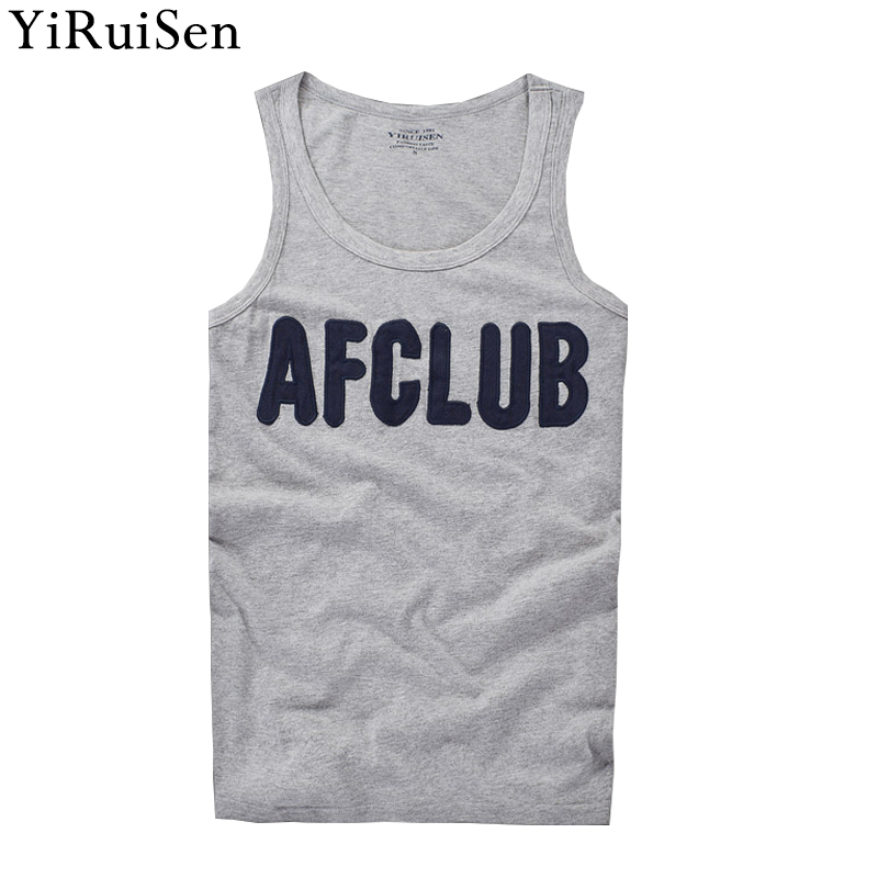 2018 New Patchwork Letter AFCLUB   Tank     Tops   Men 100% Cotton O-neck Tanktop Summer YiRuiSen Brand Casual Clothing For Man