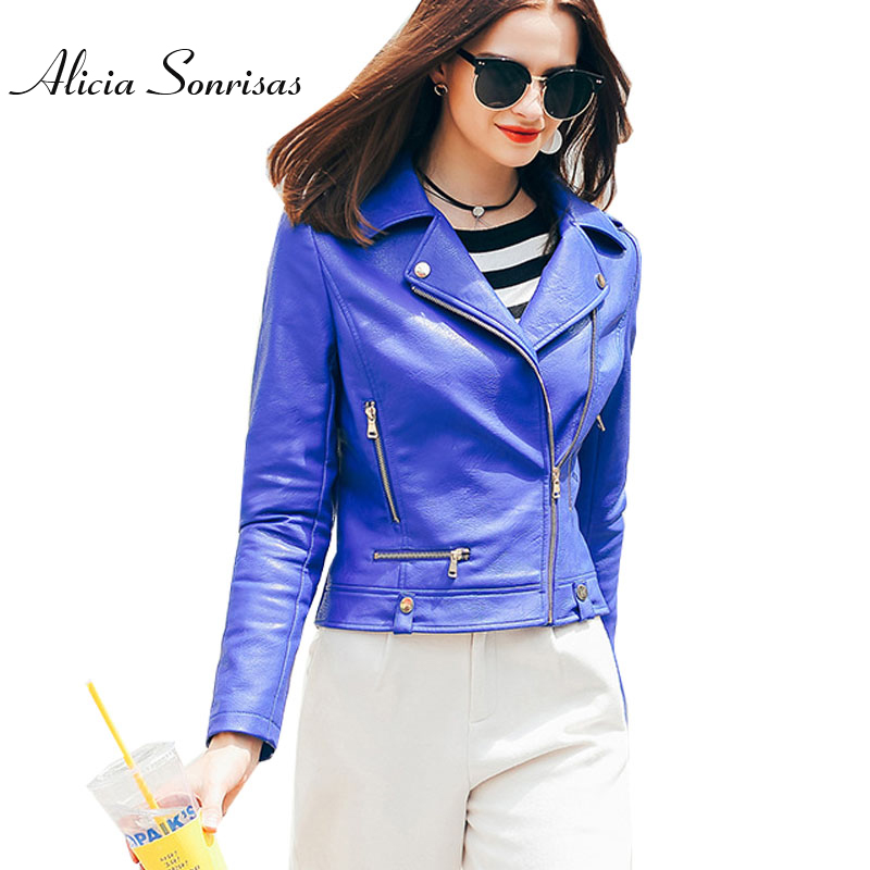 WFST Blue Leather Jacket Women 2016 Veste En Cuir Femme PU Leather ...