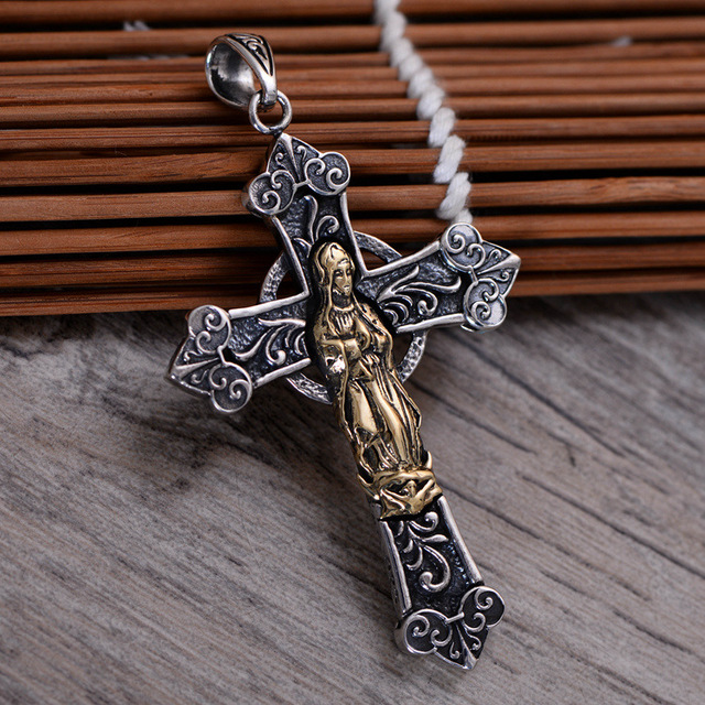 925 sterling silver retro virgin mary cross necklace pendant men 925 sterling silver retro virgin mary cross necklace pendant men thai silver fine jewelry gift ch052727 aloadofball Images