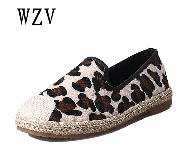 2018 Women Loafers Horse hair Flat shoes Round Toe Oxford Shoes for Woman Casual fisherman shoes Flats Wide Slip-on Shoes B285 leopard and snakeskin pattern women shoes loafers spring fashion slip on round toe casual shoes flat shoes for woman flats