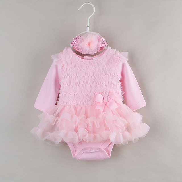 Ratail Baby Girls Long Sleeve Cotton Rromper Pink Lace TUTU Dress Baby Clothing 1 Year Girl Baby Birthday Dress ABB-1510