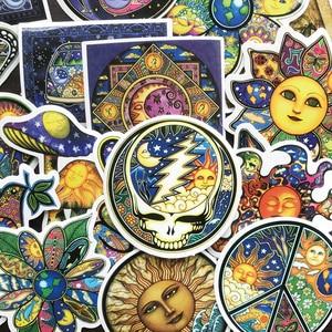 Image 5 - AQK 25 adet/grup renkli güneş ay isteyen dünya barış çıkartmalar Boho tarzı Bohemian Sticker kaykay bagaj Laptop gitar araba