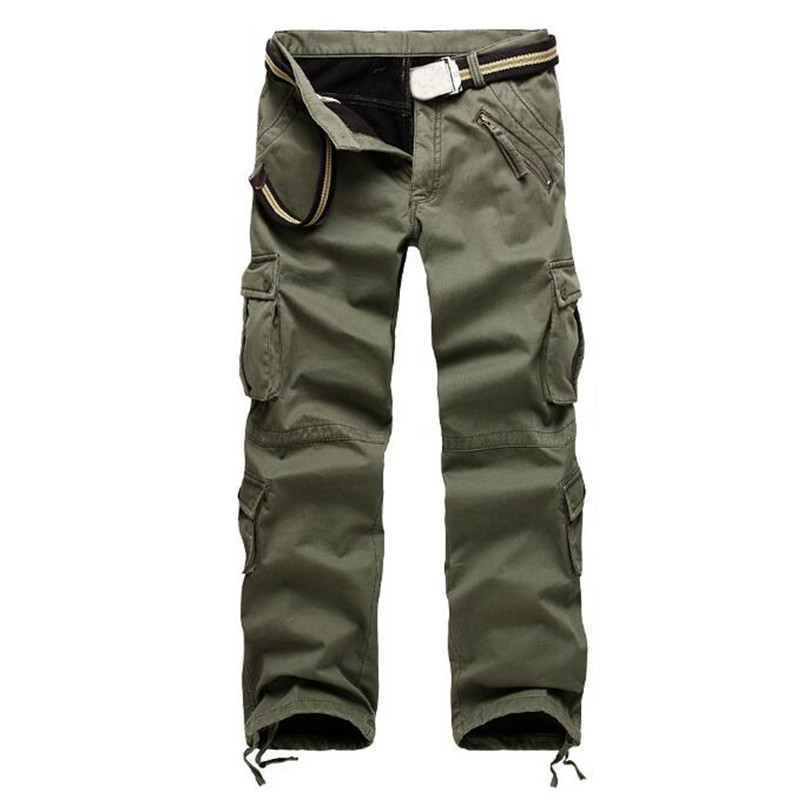 2018 New Men Work Cargo Pants Army Green Big Pockets Fleece Lined Mens Casual Trousers Male Winter Warm Military pants Size 38