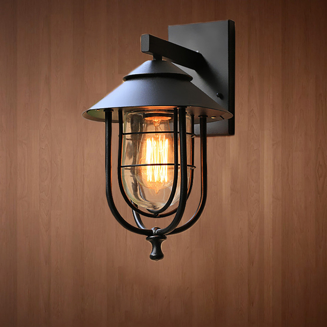 Classical Black Loft Iron Outdoor Wall Sconces Industrial Country ...