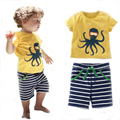 New 2017 Summer Baby Boys Clothing Set 2pcs Children Suit Kids Clothes Striped Clothing Sets Baby Boys