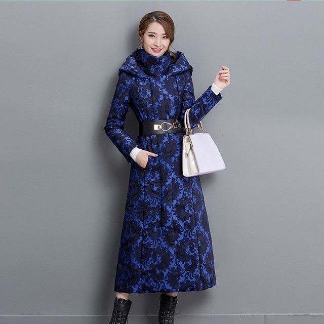 New Womens Winter Down Jackets Jacquard Coats Women High Quality Warm Female Thick Warm Parka Hooded Plus Ladies Slim Over Coat