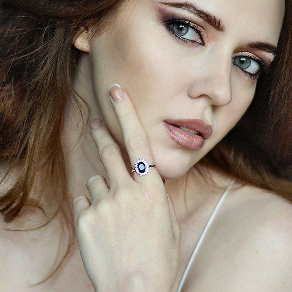 UMCHO luksuzni plavi safir 6 * 8mm princeza Diana prstenovi prave 925 - Fine nakit - Foto 5