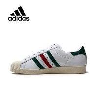 Genuine Adidas Sneakers Originals Sports Red Green Stripe Unisex Skateboarding Shoes Low tops Women Men PU Leather CQ2654