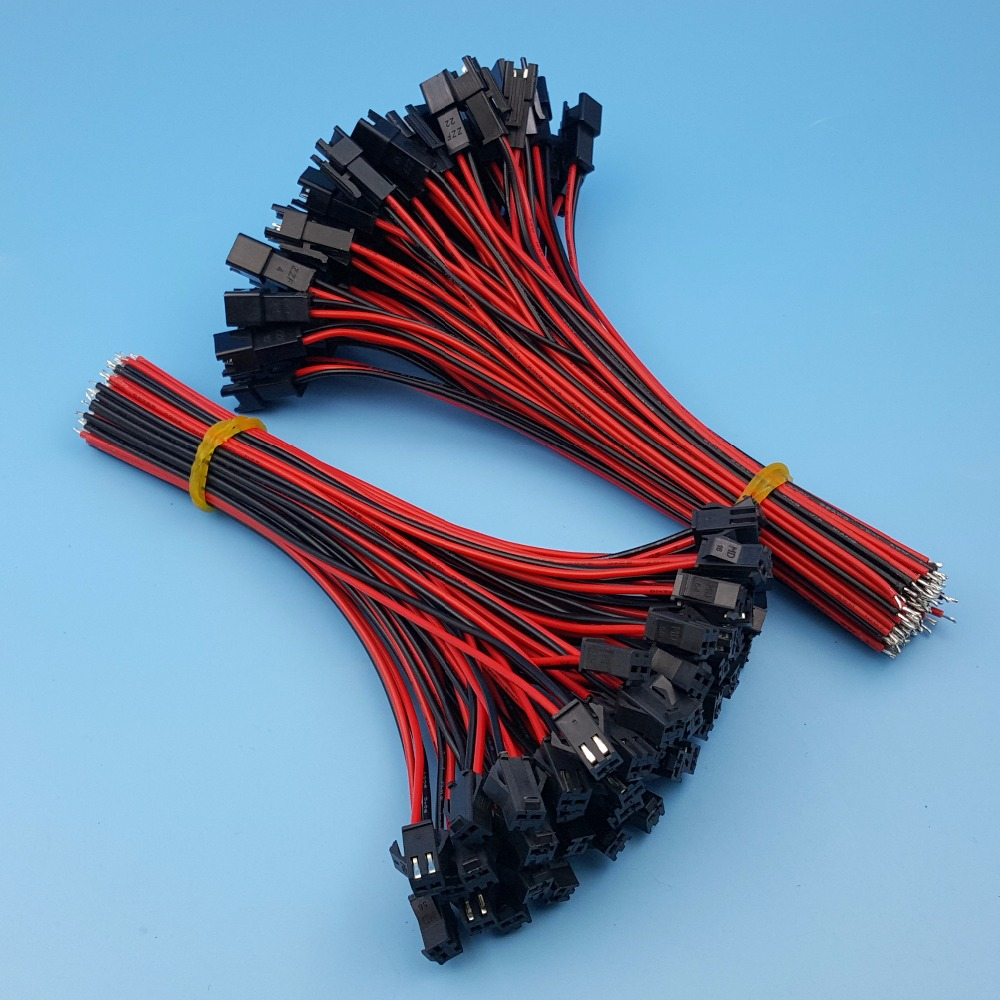 50Pairs SM JST 2Pin Pitch 2.54mm Male and Female 15cm 24AWG Wire Connector