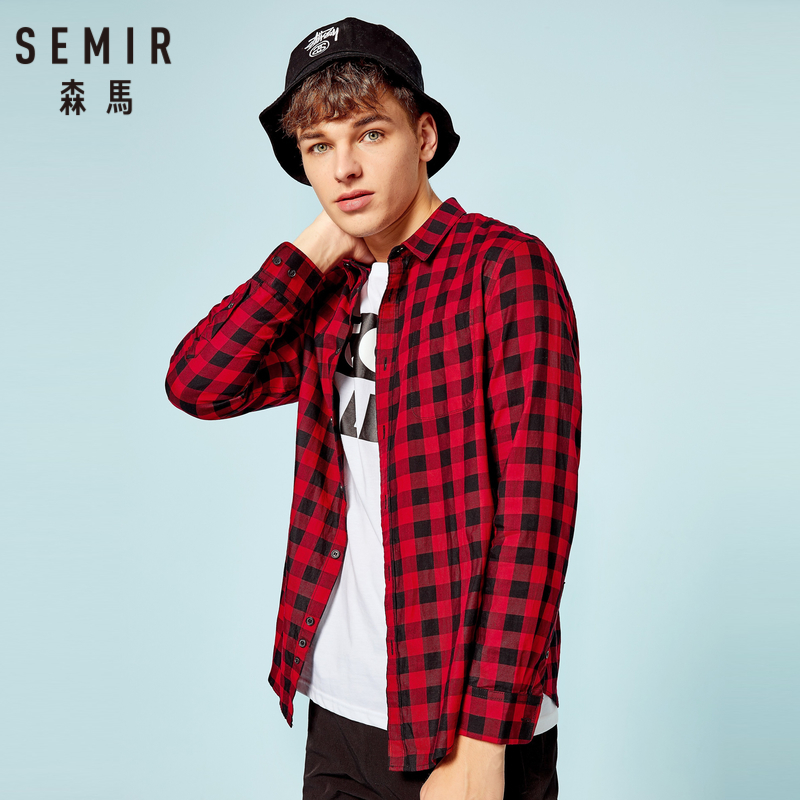 SEMIR Men 100% Cotton Plaid Shirt With Turn-down Collar Men's Long-Sleeved Shirt With Chest Pocket Taperd Waist Button At Cuffs