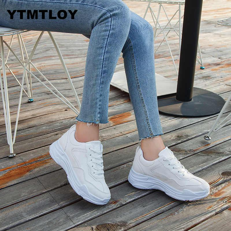 2019 New Spring Fashion Women Casual Shoes Suede Leather Platform Sneakers Ladies White Trainers Chaussure Femme   Zapatos