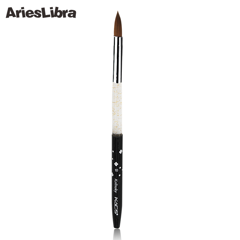 AriesLibra 10# Black 5pcs/set 100% Kolinsky Sable Brush Professional Nail Art Tool Brushes Acrylic Nail Brush for Nail Painting цена и фото