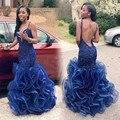 Ombre Sexy Vestido Azul de La Sirena Vestidos de Baile para La Muchacha Negro Sin Espalda Con Cuello En V Con Volantes 2016 Último Vestido de Diseño Africano Desgaste Del Partido