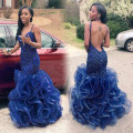 Sexy Ombre Dress Blue Mermaid Prom Dresses for Black Girl Backless V-neck Ruffled 2016 Latest Gown Design African Party Wear