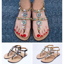 98ba2cbf342c 2019 NEW Women`s summer Casual t-strap Boho shoes Flat beach Sandals woman shining  bohemia sandals flip flop Rhinestone shoes
