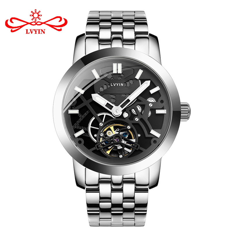 LVYIN Luxury Men Watch Stainless Steel Automatic Mechanical Watch Fashion Leather Strap Hollow Waterproof Watch for Men LY016 creative fashion mechanical watch men hollow skeleton mechanical stainless steel watch luxury casual classics waterproof sports