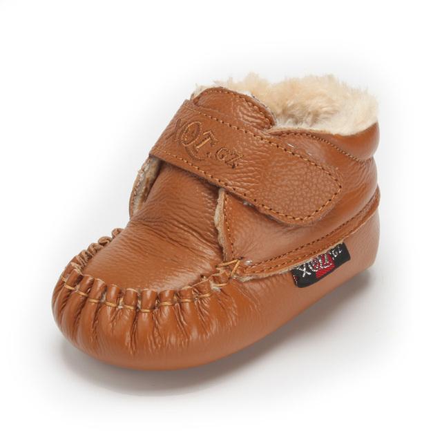 Rusia bebé botas de nieve de Cuero zapatos de los niños zapatos de algodón inferior suave zapatos del niño recién nacido infantil de invierno zapatos calientes de la nieve