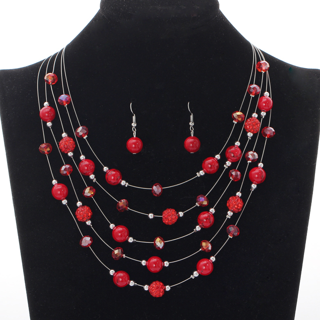 Artificial C Jewelry Sets Red Earrings Set Beads Natural Stone Necklace Collares Layers Choker Fashion