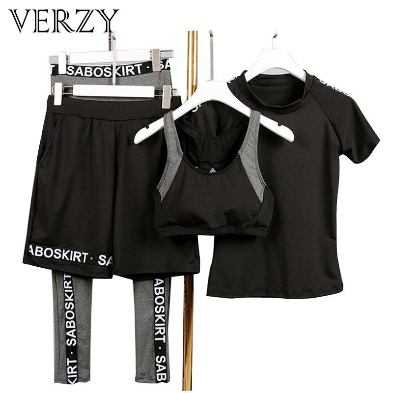 Di grandi Dimensioni di Yoga Set 4 pezzi Tute Vestito di Sport Femminile di Fitness Traspirante Esercizio All'aperto Lettera Palestra Abbigliamento Sportivo Delle Donne Pantaloni