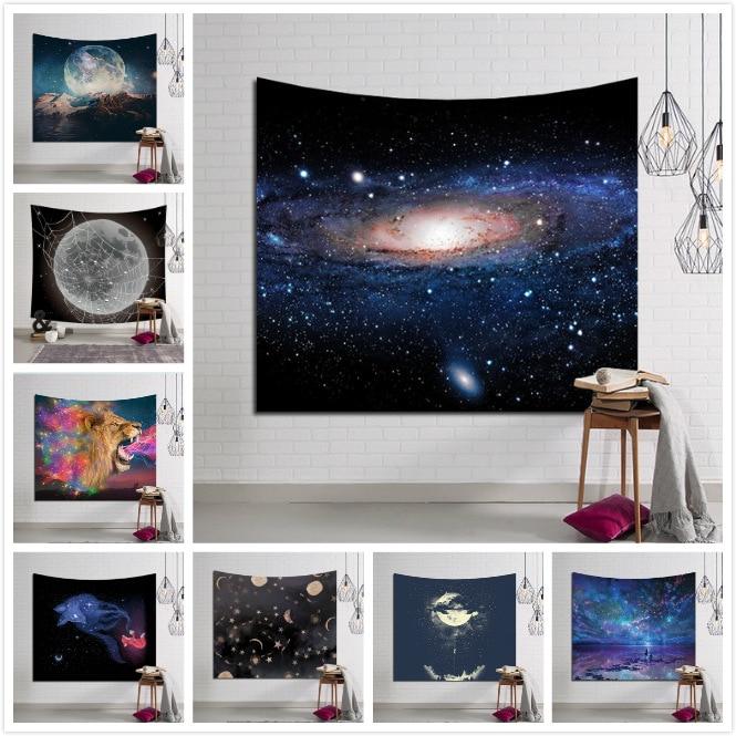LYN & GY Galaxy Appeso Arazzo Da Parete Luna Spider Hippie Retro Home Decor Yoga Telo mare 150x130 cm/150x100 cm/150X200 CM/150X230 CM