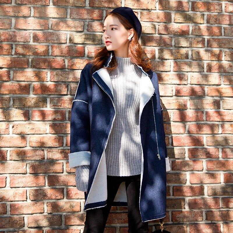 Las Vintage Abrigo Mujer Retro Denim Larga Nueva La Azul deep Jean Mujeres Blue Grueso Blue Invierno De Prendas Light Sueltos Abrigos Moda Calle Cálido qUcXtf