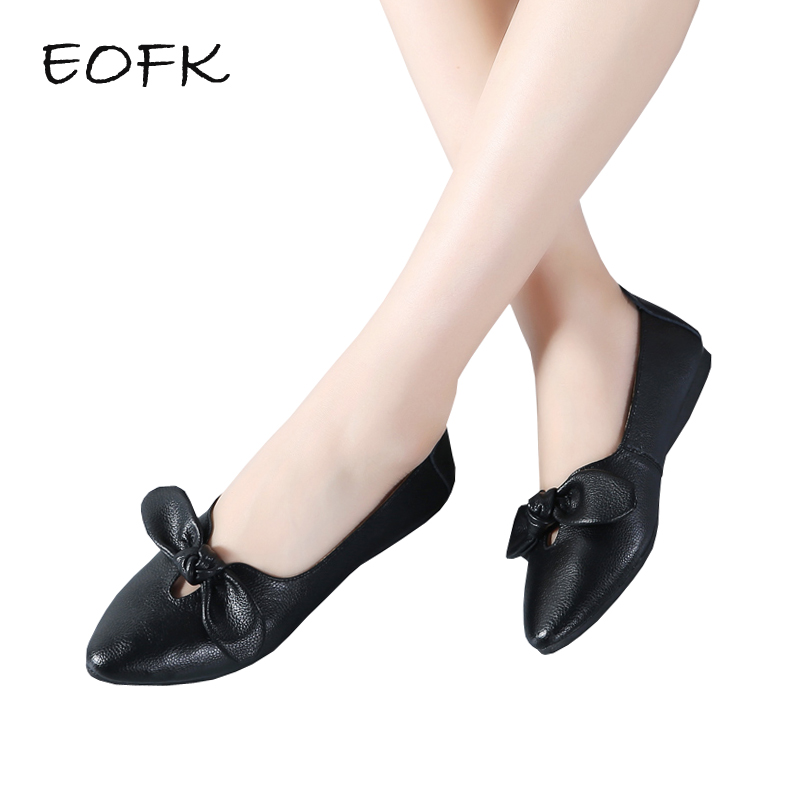EOFK Women Ballet Flats Shoes Woman Slip On Flat Shoes Women's Loafers Soft Elegant Butterfly-knot Pointed Toe Female Shoes new designer shoes women luxury 2018 butterfly knot flat shoes women fur mules pointed toe flats slip on shoes for women loafers