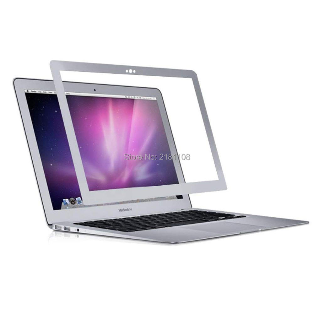 Bubble Free LCD Screen Protector With Silver Frame For Apple Macbook Air 13.3