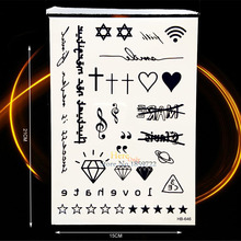 Black Fake Tattoo Diamond Melody Cross Star Sanskrit Tibetan Design Waterproof Hand Face Decals Temporary Tattoo