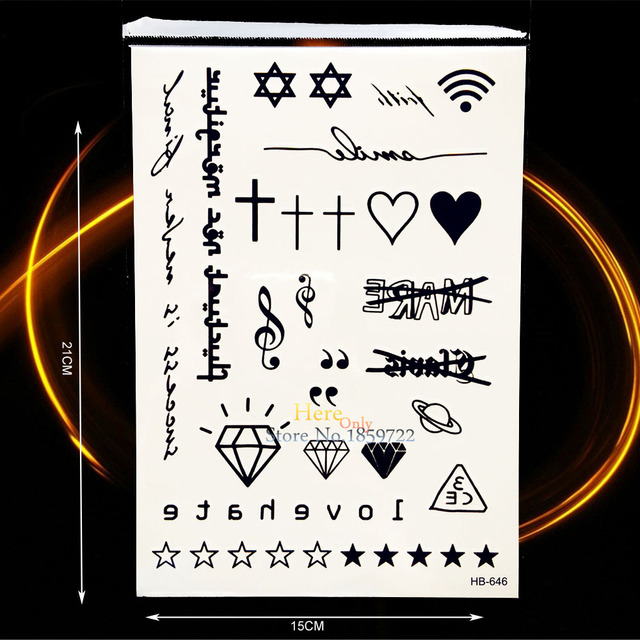 Negro Falso Tatuaje Diamante Melodía Cruz Estrella Sánscrito