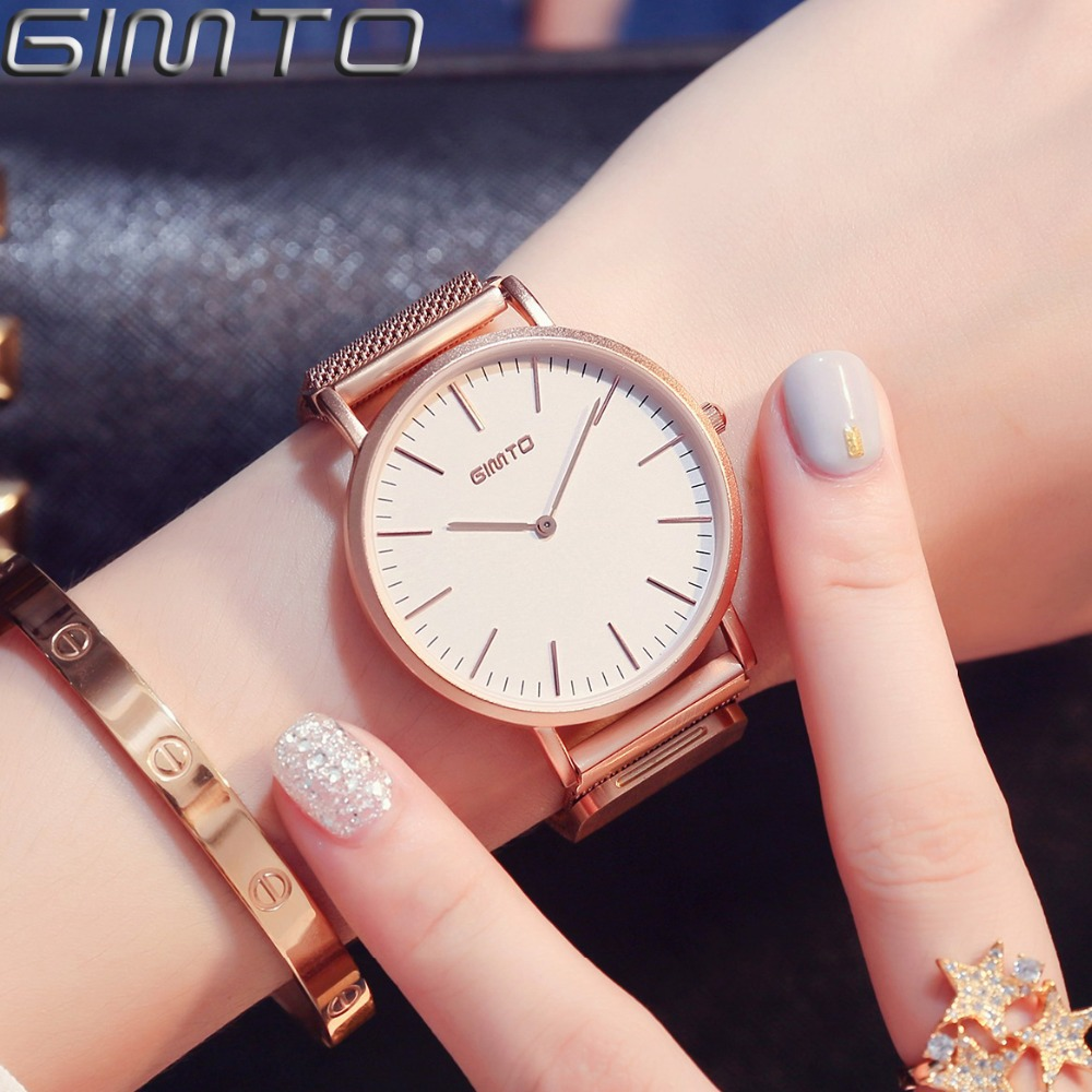 GIMTO Brand Simple Women Watches Luxury Gold Lovers Bracelet Quartz Wristwatch Steel Clock Ladies Sport Watch Relogio Feminino zivok fashion brand women watches luxury red lovers bracelet wrist watch clock women relogio feminino ladies quartz wristwatch
