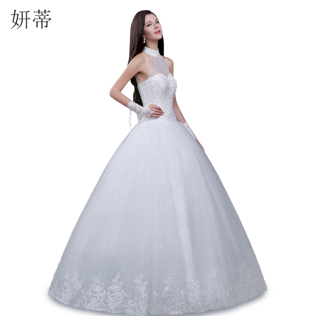 Charming Beading Sequined Halter Neck Ball Gown Wedding Dress 2017 ...