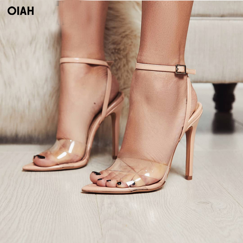 Summer Clear Sandals Women Transparent High Heels PVC Cross Stilettos Ankle Strap Perspex Heeled Western Design Sandal