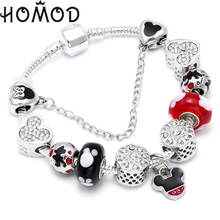 HOMOD Fashion Animal Mickey & Minnie Murano Glass Beads Charm Bracelet  Fit DIY Handmade Brand For Women