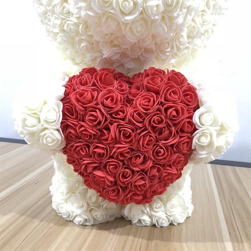 53 CM high Rose bear Valentines Gift preserved fresh flower romance artificial rose toy of flower Women's Gift flower bear - 4
