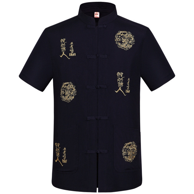 Black Chinese Men's Cotton Linen Embroidery Kung Fu Shirt Summer Tops Short Sleeve Clothing Size M L XL XXL XXXL