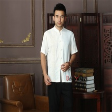 Spring Toys White Chinese Men's Cotton Kung Fu Shirt Top Novelty Embroidery Tang Suit Clothing Size S M L XL XXL XXXL