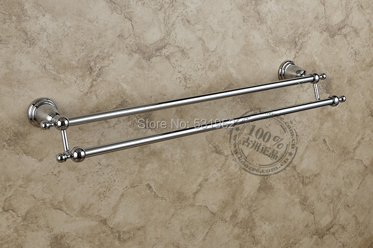 Free Shipping Classical Double Towel Bar,Chrome Plate Towel Holder,Solid Brass Made, Bathroom Products,Bathroom Accessories free shipping bathroom products solid brass chrome single towel bar chrome towel holder towel rack bathroom accessories cs008d 2