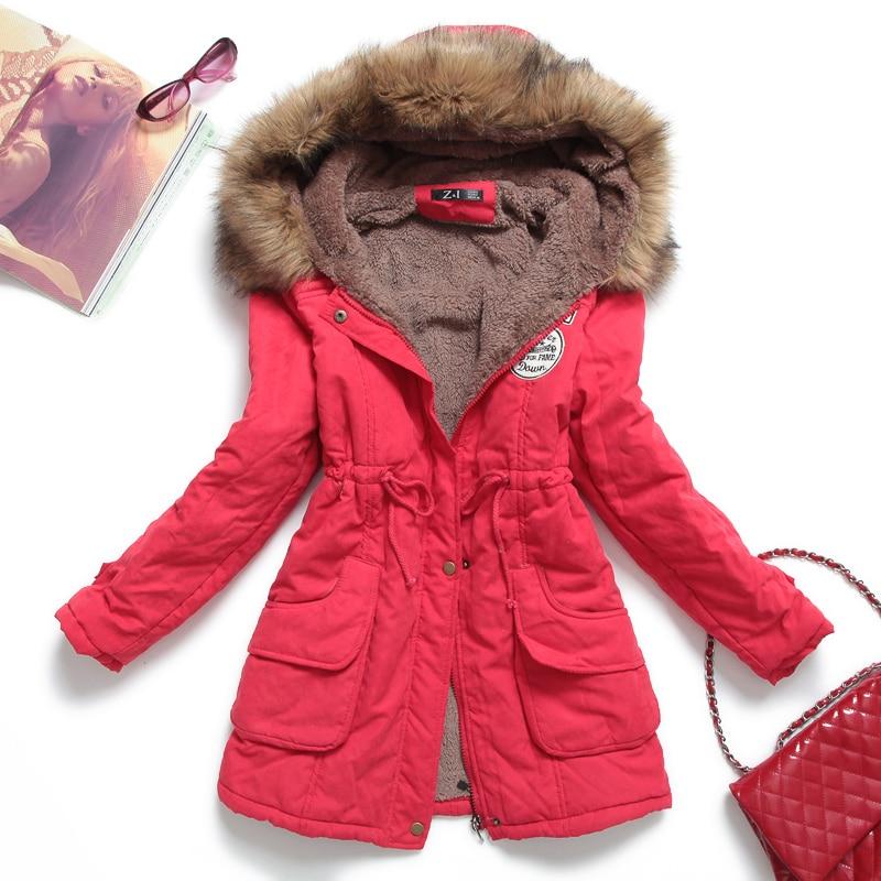 Basic     jackets   coats Thickening with a hood tooling medium-long wadded   jacket   fur collar plus size coat cotton-padded   jacket   9889
