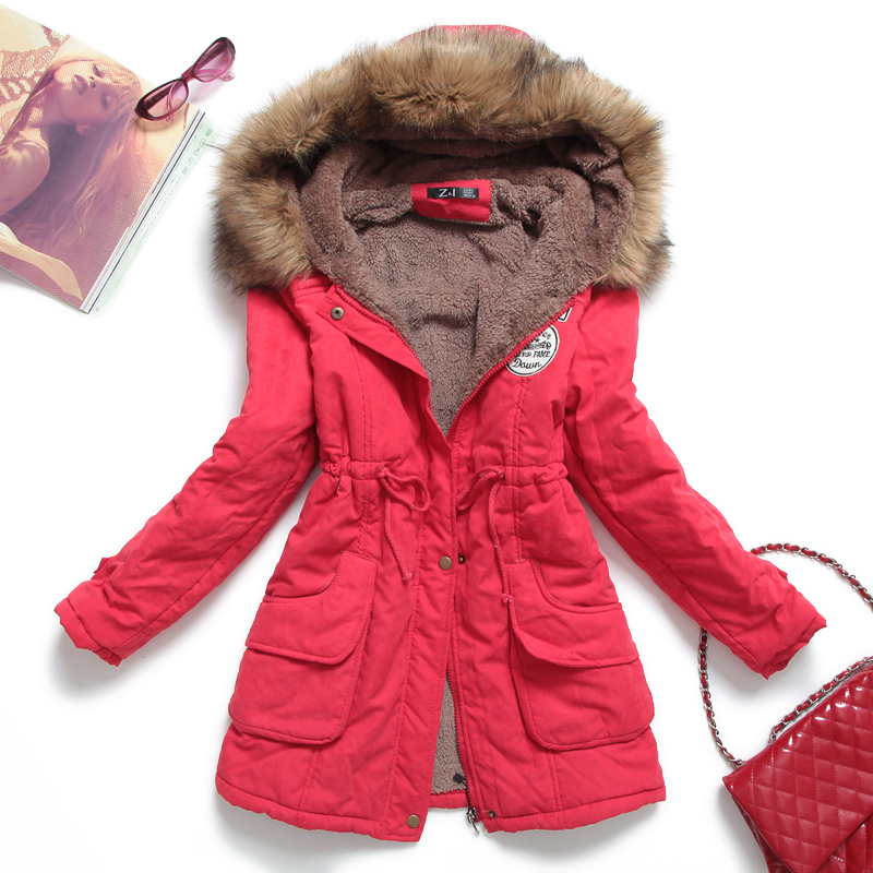 Basic jackets coats Thickening with a hood tooling medium-long wadded jacket fur collar plus size coat cotton-padded jacket 9889