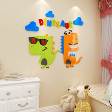Creative INS cartoon dinosaur DIY Children's room bedroom home living room TV background wall decoration 3D acrylic wall sticker creative ins cartoon car diy children s room bedroom home living room tv background wall decoration 3d acrylic wall stickers