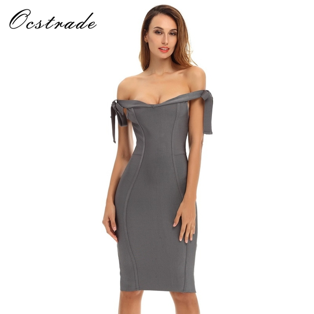 de5f05ce91 Ocstrade Women Slate Grey Off Shoulder Dress Party Dress New Arrival  Bodycon Bandage Dress 2017 Wholesale HL