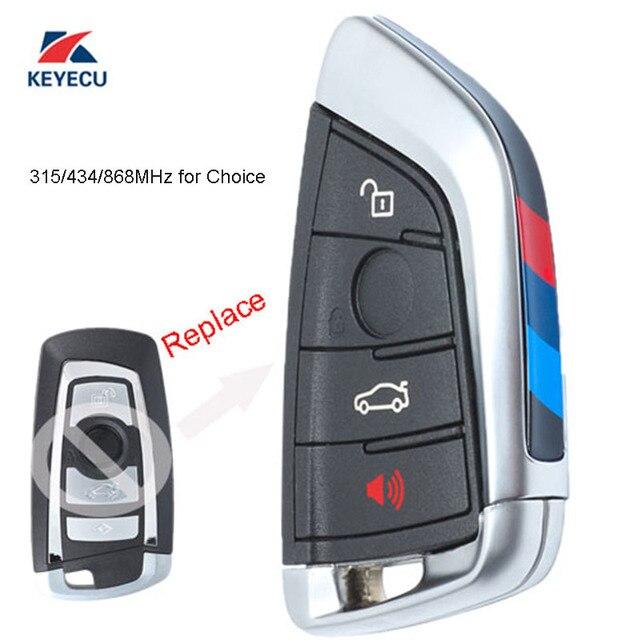 KEYECU negro reemplazo de llave de control remoto Fob botón 4/315/433/868 MHz para BMW 1 2 3 4 5 6 7 de la serie X1 X3 F chasis CAS4 + FEM 2011-2017