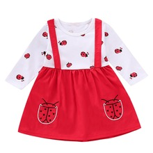 2c253d49a Puseky Toddler Kids Girls Ladybird Print Dress Kids Dresses Long Sleeve  T-Shirt Ruched Outfits