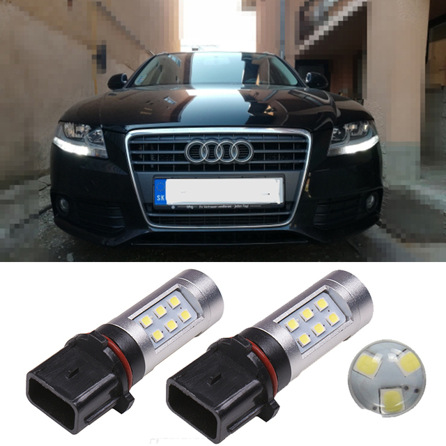 2PCS Auto P13W PSX26W LED Bulbs Daytime Running Lights Driving Light For Audi A4 B8 S4 Q5 2009-2012 Car Fog Lamp White