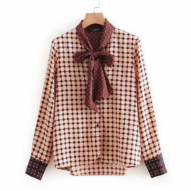 autumn winter geometric print bow tie women blouses shirt casual Plus Size femininas blusas tops