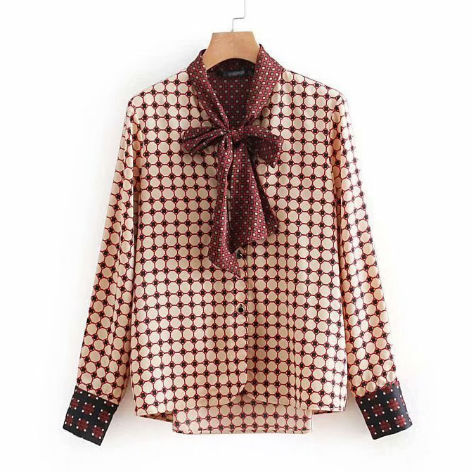 autumn winter geometric print bow tie women blouses shirt  casual Plus Size femininas blusas tops