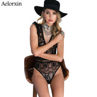 Aelorxin 2017 Women Sexy Lace Bodysuit Women Harness Lace Stitching Overalls For Women Combishort Femme Ete
