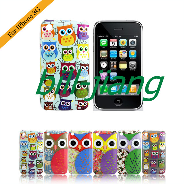 Cartoon Cute Owl Bird design hard Case for iphone 3G 3GS 1pcs/lot by china post