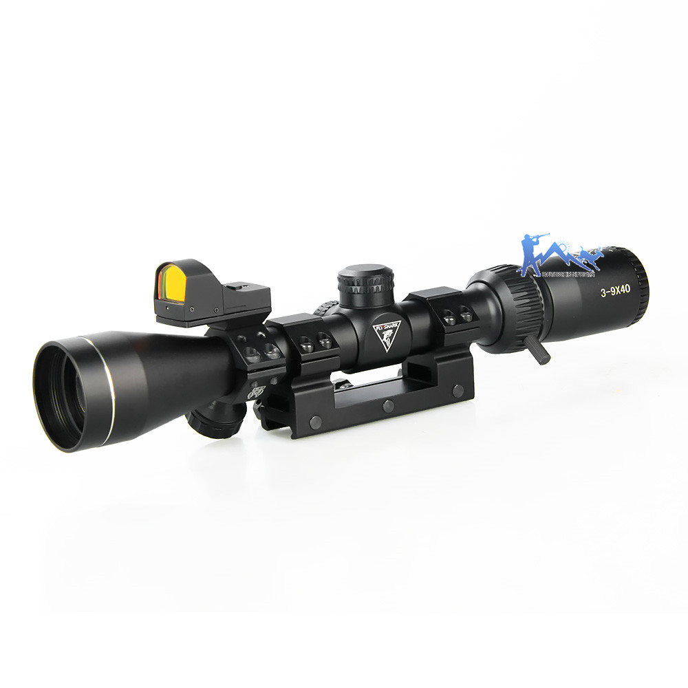 Fly Shark Rifle Scope Tactical 3x-9x40 Rifle Scope 1 Inch Tube Black With Red Dot Sight For Outdoor Hunting OS1-0402